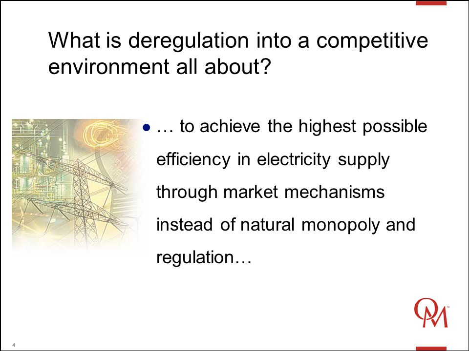 4 What is deregulation into a competitive environment all about.