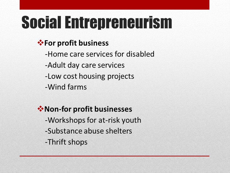 Social Entrepreneurism  For profit business -Home care services for disabled -Adult day care services -Low cost housing projects -Wind farms  Non-for profit businesses -Workshops for at-risk youth -Substance abuse shelters -Thrift shops