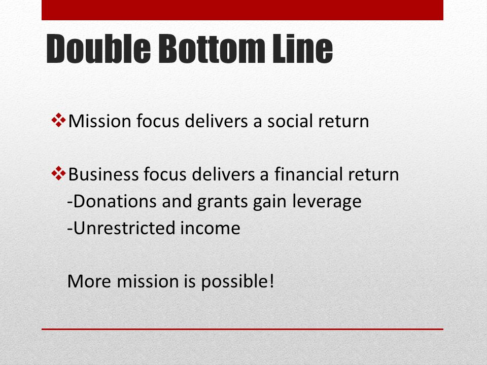 Double Bottom Line  Mission focus delivers a social return  Business focus delivers a financial return -Donations and grants gain leverage -Unrestricted income More mission is possible!