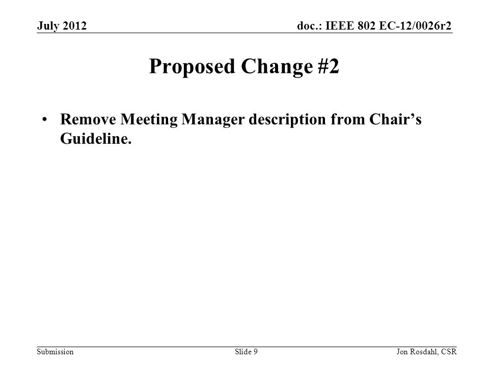 doc.: IEEE 802 EC-12/0026r2 Submission Proposed Change #2 Remove Meeting Manager description from Chair's Guideline.