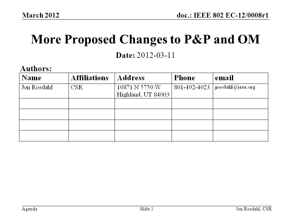 doc.: IEEE 802 EC-12/0008r1 Agenda March 2012 Jon Rosdahl, CSRSlide 1 More Proposed Changes to P&P and OM Date: Authors: