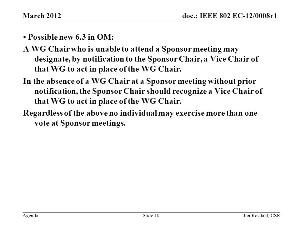 doc.: IEEE 802 EC-12/0008r1 Agenda Possible new 6.3 in OM: A WG Chair who is unable to attend a Sponsor meeting may designate, by notification to the Sponsor Chair, a Vice Chair of that WG to act in place of the WG Chair.