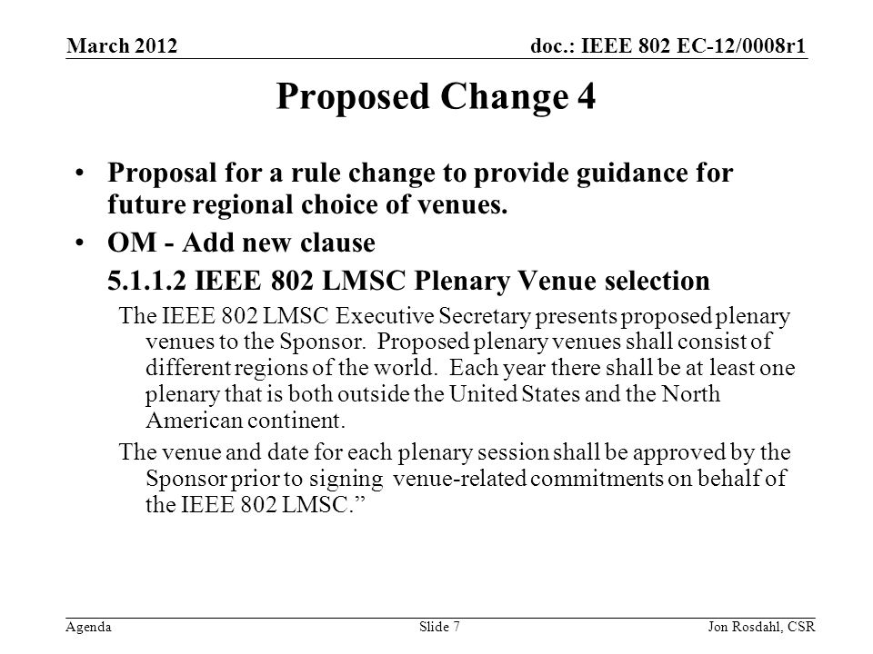 doc.: IEEE 802 EC-12/0008r1 Agenda March 2012 Jon Rosdahl, CSRSlide 7 Proposed Change 4 Proposal for a rule change to provide guidance for future regional choice of venues.