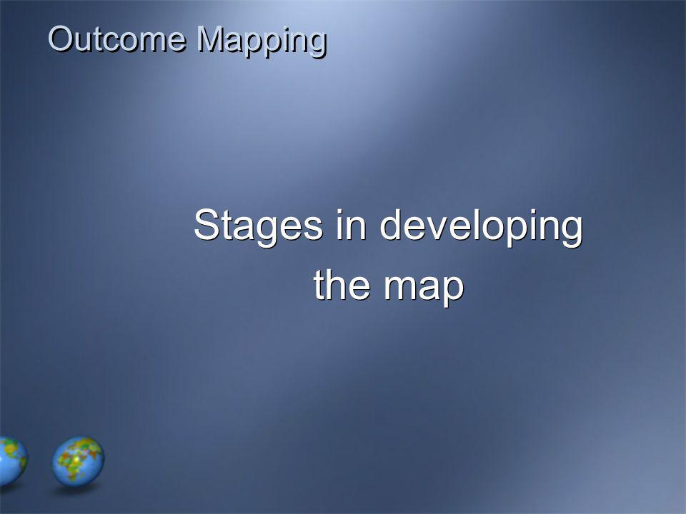 Outcome Mapping Stages in developing the map Stages in developing the map