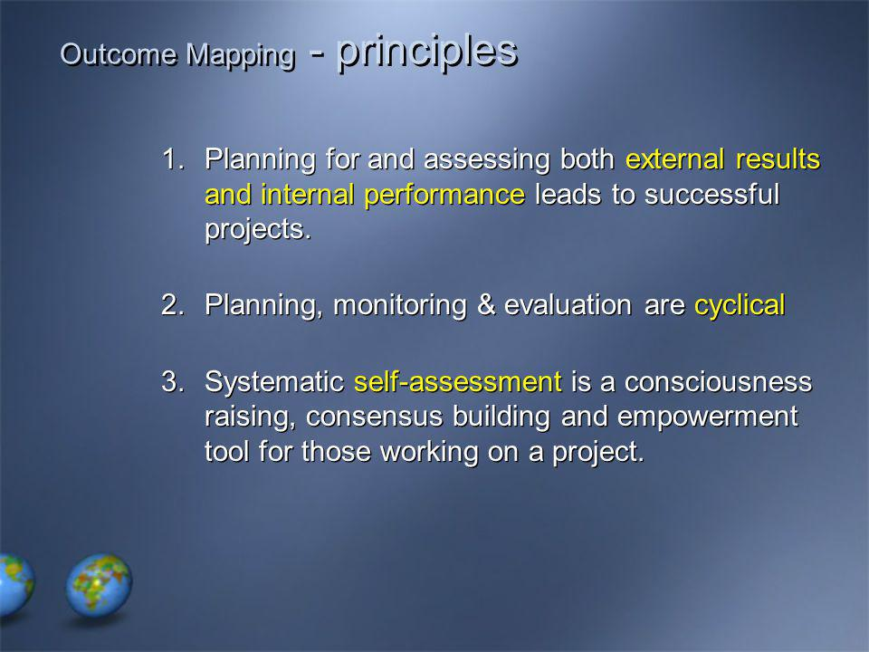 Outcome Mapping - principles 1.Planning for and assessing both external results and internal performance leads to successful projects.