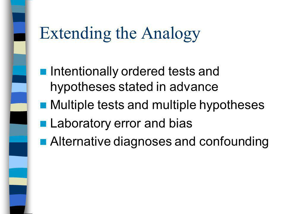 Extending the Analogy Intentionally ordered tests and hypotheses stated in advance Multiple tests and multiple hypotheses Laboratory error and bias Alternative diagnoses and confounding