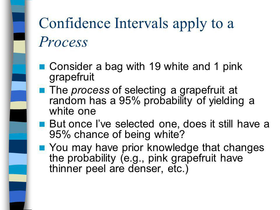 Confidence Intervals apply to a Process Consider a bag with 19 white and 1 pink grapefruit The process of selecting a grapefruit at random has a 95% probability of yielding a white one But once I've selected one, does it still have a 95% chance of being white.