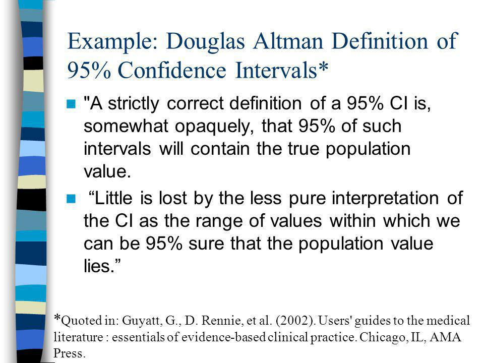 When P-values and Confidence Intervals Disagree Usually P < 0.05 means 95% CI excludes null value.