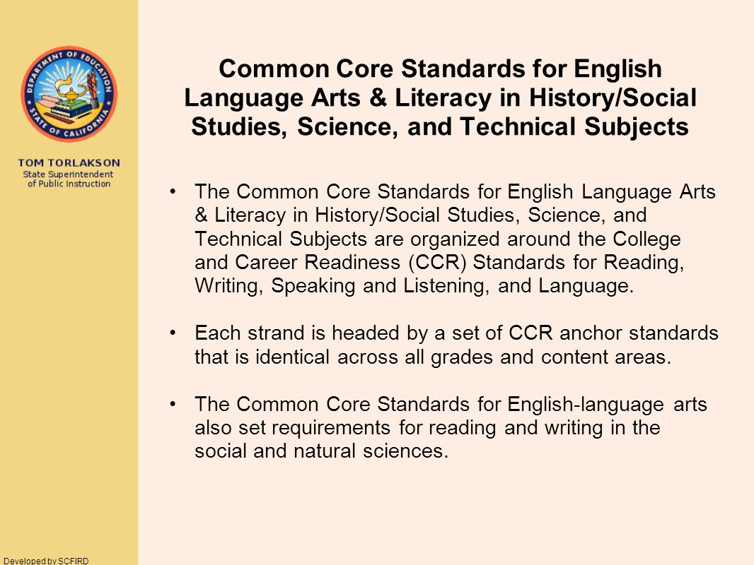 Current CA Standards DOMAINS Common Core Standards for CA STRANDS Reading Writing Listening and Speaking Written and Oral English Language Conventions Reading Writing Speaking and Listening Language Similar Organization 14