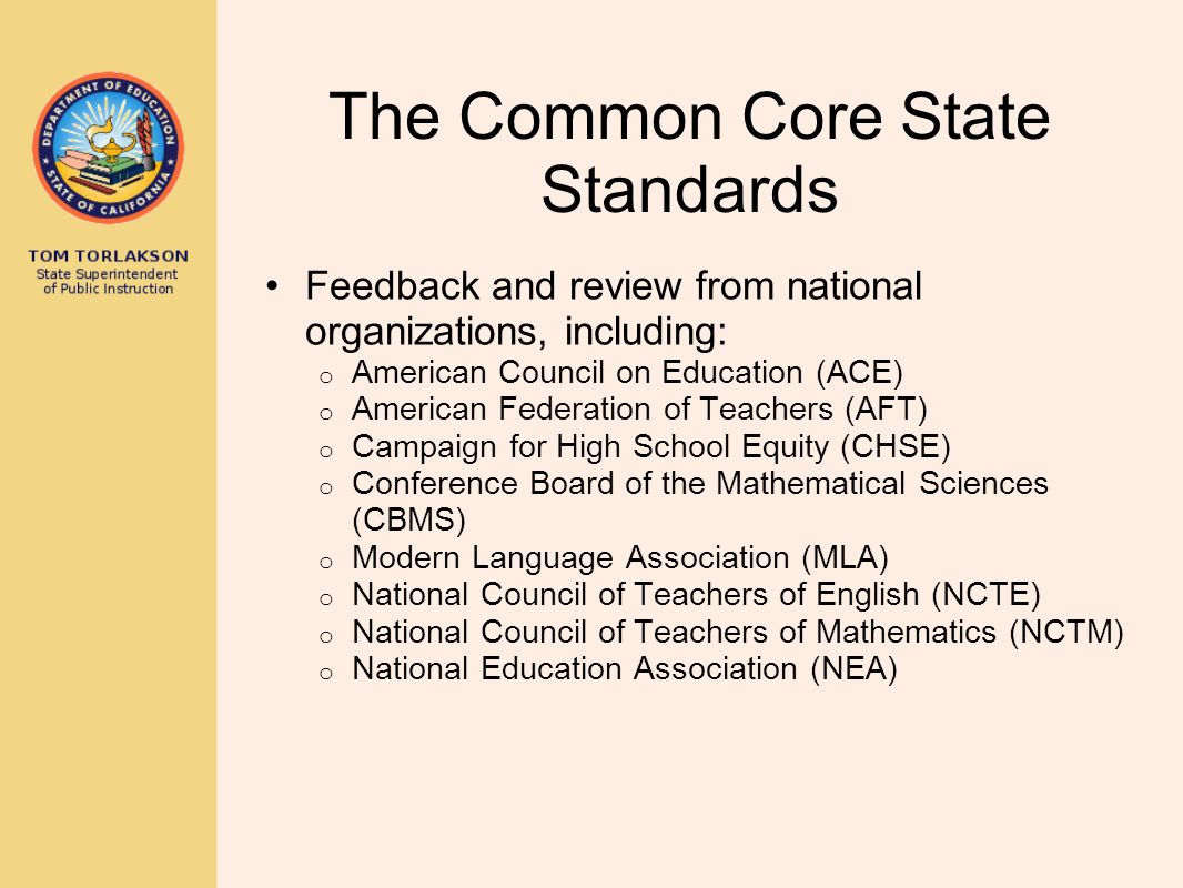 California and the Common Core State Standards Senate Bill 1 from the Fifth Extraordinary Session (SB X5 1): established an Academic Content Standards Commission (ACSC) to develop standards in mathematics and English–language arts stated that 85 percent of the standards were to consist of the CCSS with up to 15 percent additional material directed the State Board of Education (SBE) to adopt or reject recommendations of the ACSC