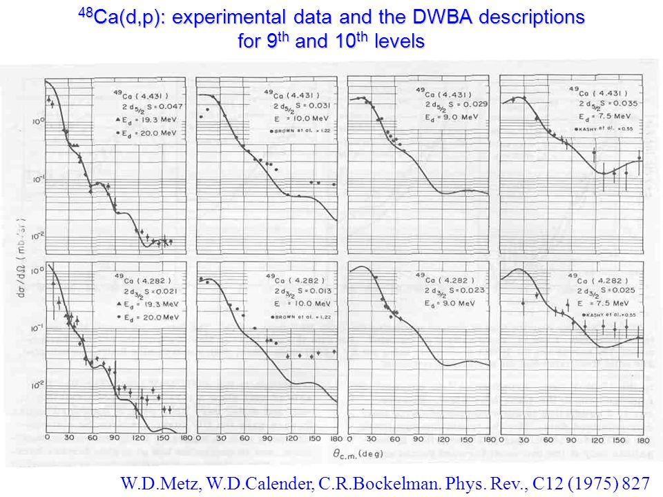 48 Ca(d,p): experimental data and the DWBA descriptions for 9 th and 10 th levels W.D.Metz, W.D.Calender, C.R.Bockelman.