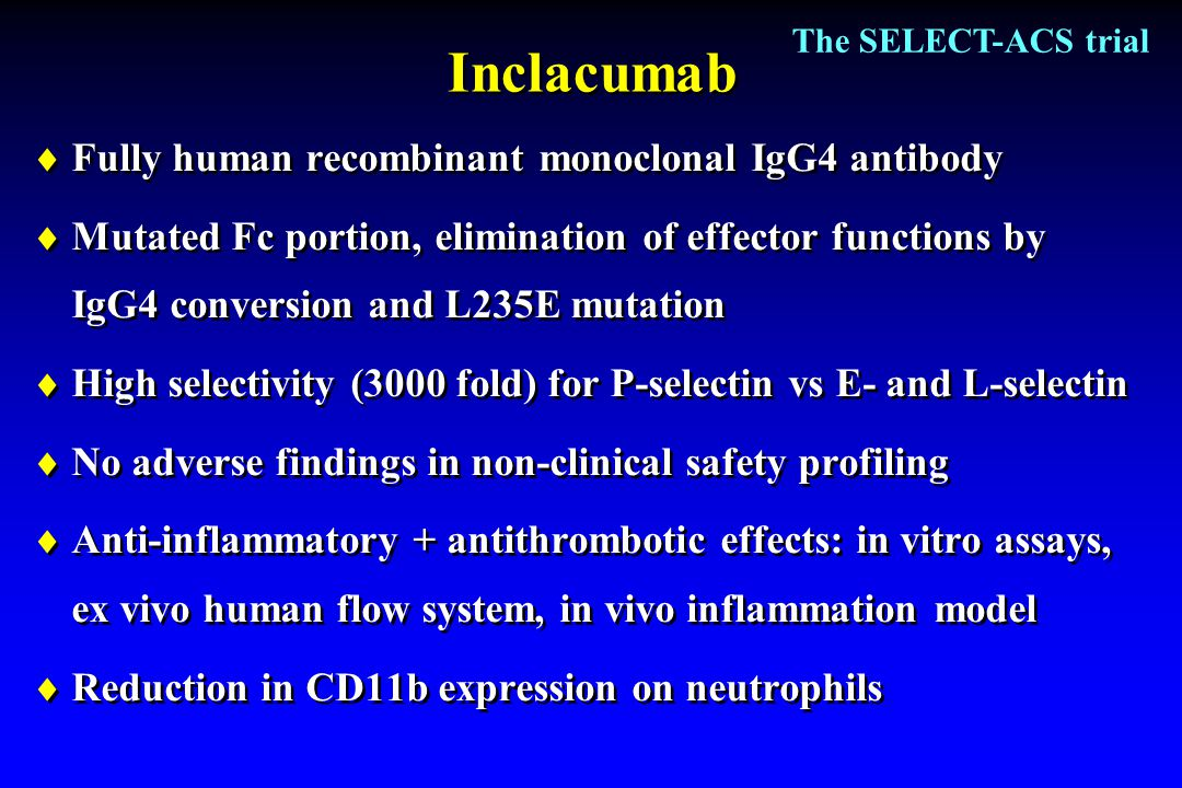 Inclacumab  Fully human recombinant monoclonal IgG4 antibody  Mutated Fc portion, elimination of effector functions by IgG4 conversion and L235E mut