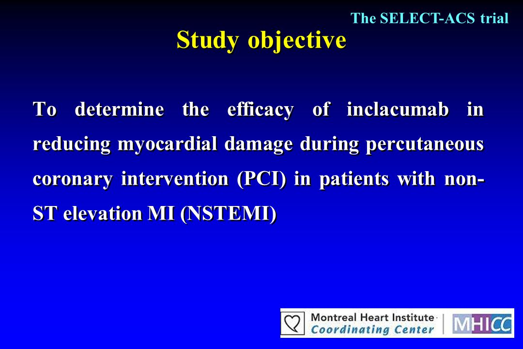 Study objective To determine the efficacy of inclacumab in reducing myocardial damage during percutaneous coronary intervention (PCI) in patients with