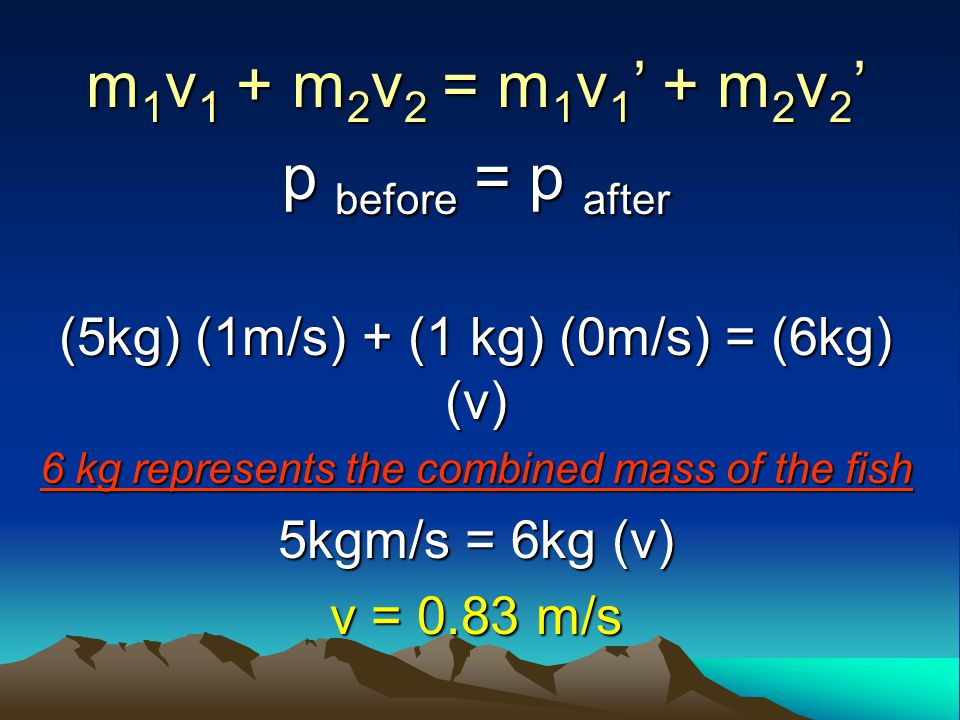 Solution: p before = p after Givens: m (big fish) = 5 kg m (small fish) = 1 kg v (big fish before) = 1 m/s v (little fish before) = 0 v (little fish b
