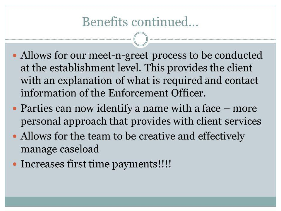 Benefits continued… Allows for our meet-n-greet process to be conducted at the establishment level. This provides the client with an explanation of wh
