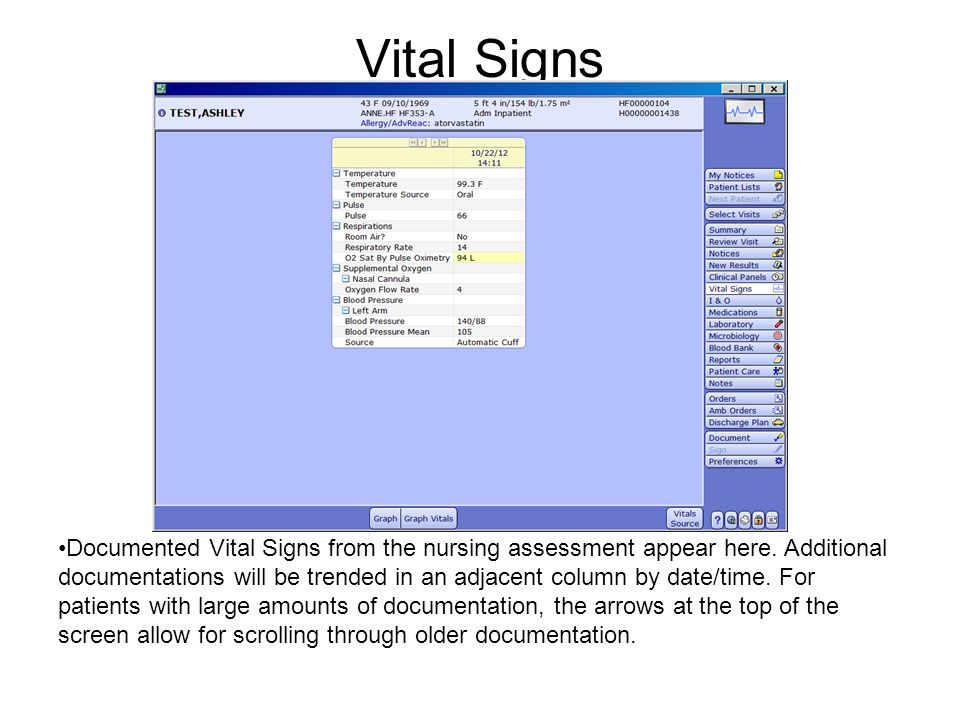 Vital Signs Documented Vital Signs from the nursing assessment appear here. Additional documentations will be trended in an adjacent column by date/ti