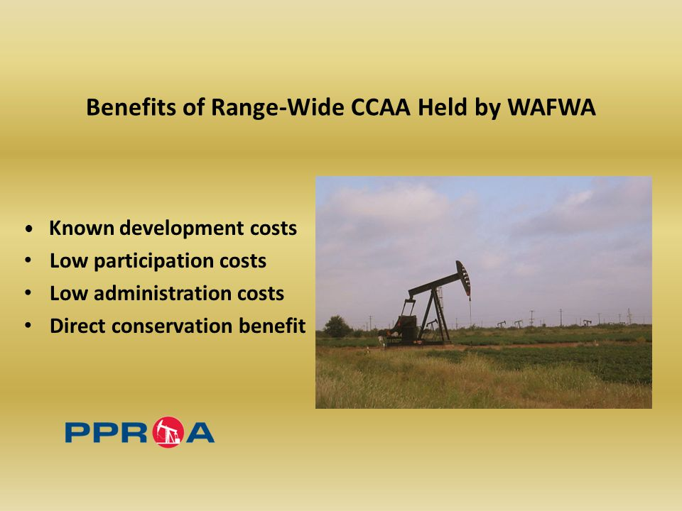Benefits of Range-Wide CCAA Held by WAFWA Known development costs Low participation costs Low administration costs Direct conservation benefit