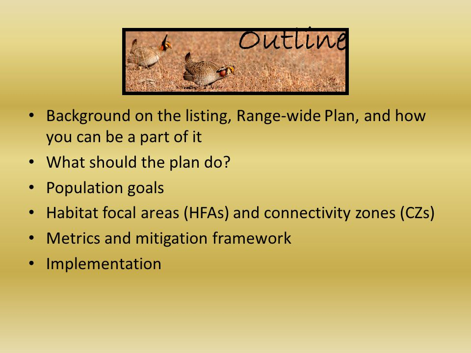Outline Background on the listing, Range-wide Plan, and how you can be a part of it What should the plan do.