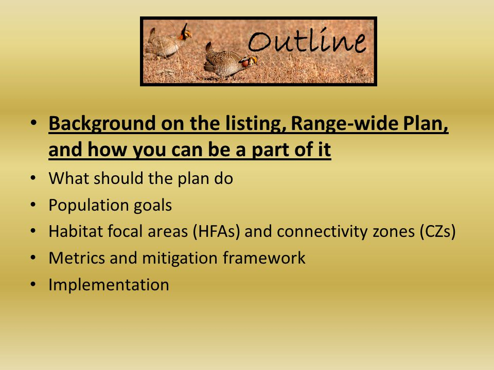 Outline Background on the listing, Range-wide Plan, and how you can be a part of it What should the plan do Population goals Habitat focal areas (HFAs