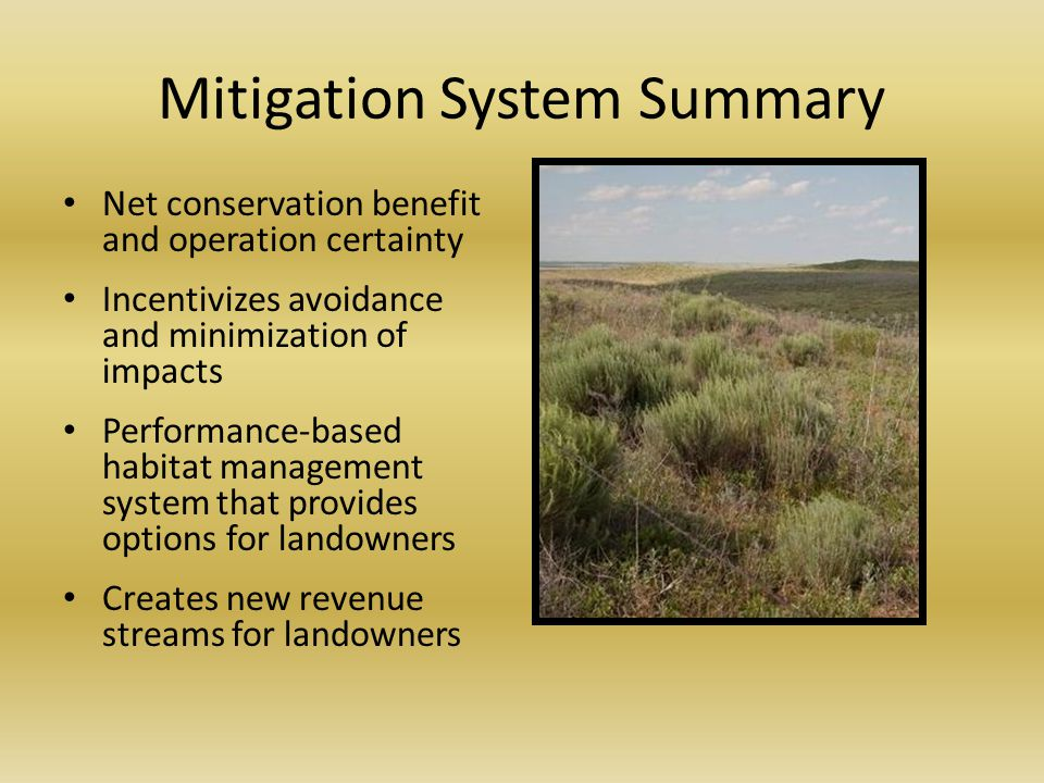 Mitigation System Summary Net conservation benefit and operation certainty Incentivizes avoidance and minimization of impacts Performance-based habitat management system that provides options for landowners Creates new revenue streams for landowners