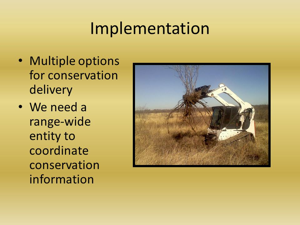 Implementation Multiple options for conservation delivery We need a range-wide entity to coordinate conservation information