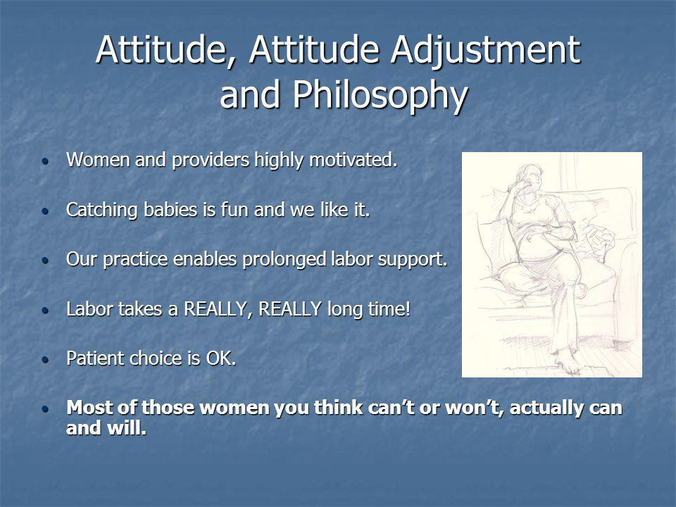 Attitude, Attitude Adjustment and Philosophy Women and providers highly motivated.