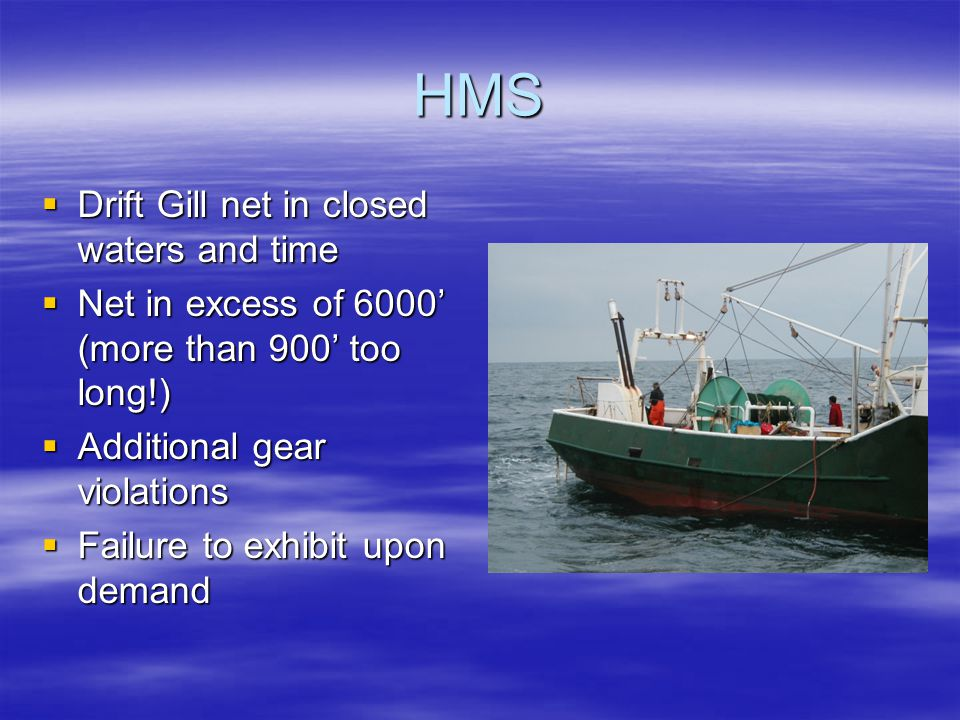 HMS  Drift Gill net in closed waters and time  Net in excess of 6000' (more than 900' too long!)  Additional gear violations  Failure to exhibit u