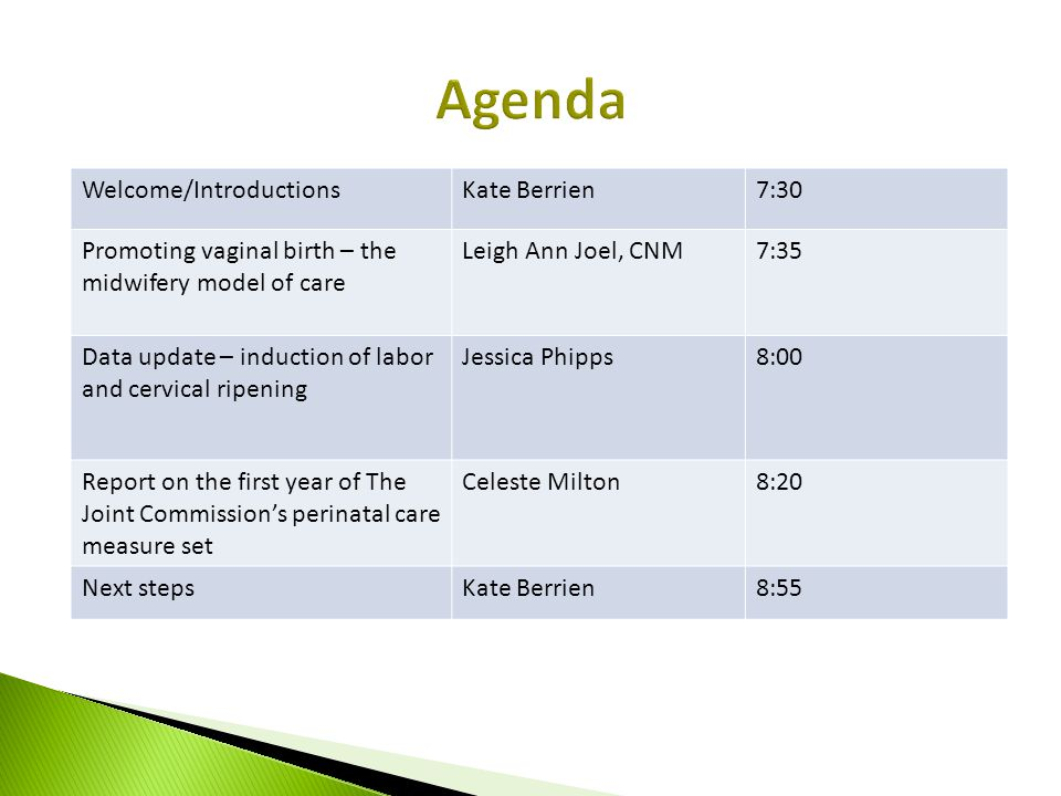 Welcome/IntroductionsKate Berrien7:30 Promoting vaginal birth – the midwifery model of care Leigh Ann Joel, CNM7:35 Data update – induction of labor a