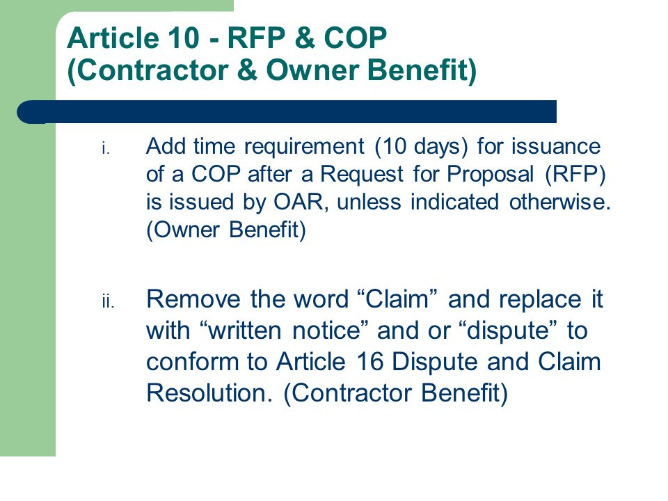 Article 10 - RFP & COP (Contractor & Owner Benefit) i.
