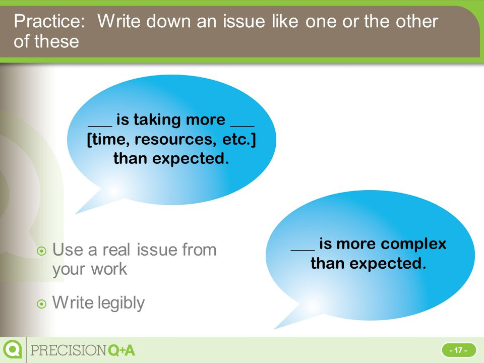 Practice: Write down an issue like one or the other of these  Use a real issue from your work  Write legibly ___ is more complex than expected.