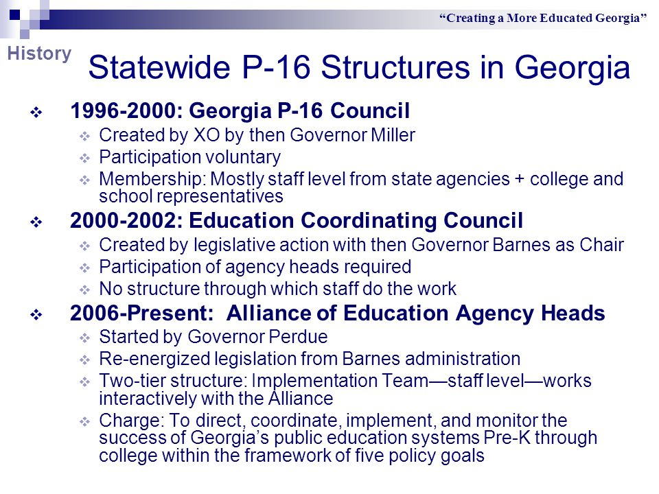 P-16 Department within University System of Georgia  Outreach arm of the USG Office to  Other state education agencies  Governor's Office  P-12 schools  University System of Georgia institutions  Business partners  in collaborative efforts to influence improvements in education for Georgia's students, pre-school through college Creating a More Educated Georgia Departmental Mission
