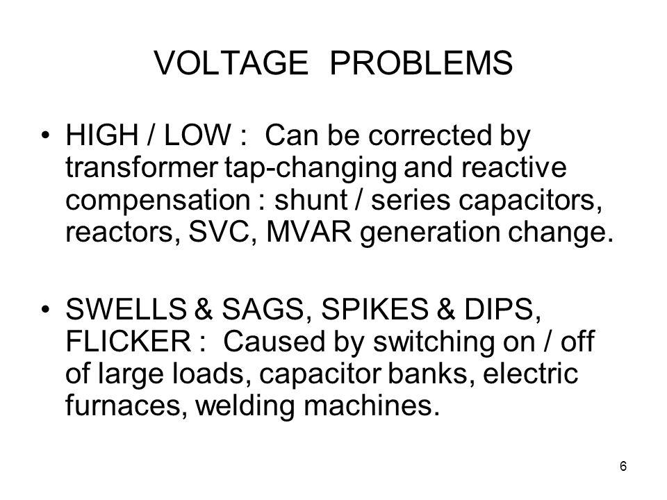 7 PHASE UNBALANCE : Caused by single - phase or unbalanced loads (e.g.