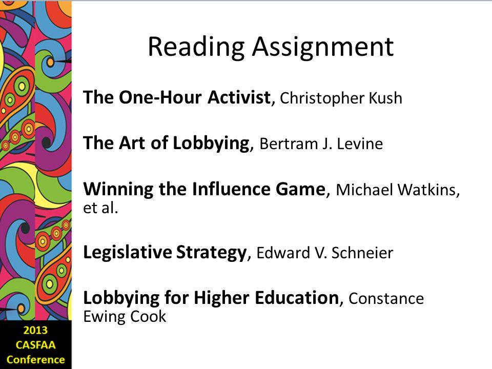 Reading Assignment The One-Hour Activist, Christopher Kush The Art of Lobbying, Bertram J.