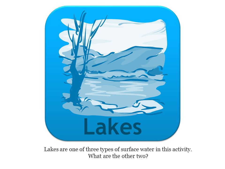 Lakes Lakes are one of three types of surface water in this activity. What are the other two?