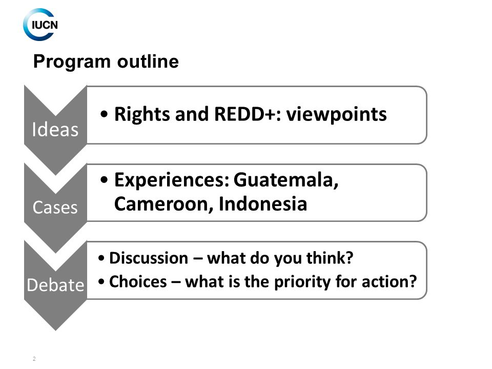 2 Program outline Ideas Rights and REDD+: viewpoints Cases Experiences: Guatemala, Cameroon, Indonesia Debate Discussion – what do you think.