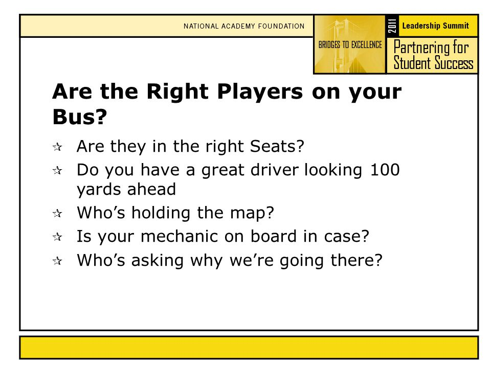Are the Right Players on your Bus.  Are they in the right Seats.