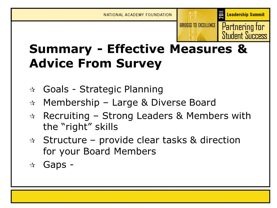 Summary - Effective Measures & Advice From Survey  Goals - Strategic Planning  Membership – Large & Diverse Board  Recruiting – Strong Leaders & Members with the right skills  Structure – provide clear tasks & direction for your Board Members  Gaps -