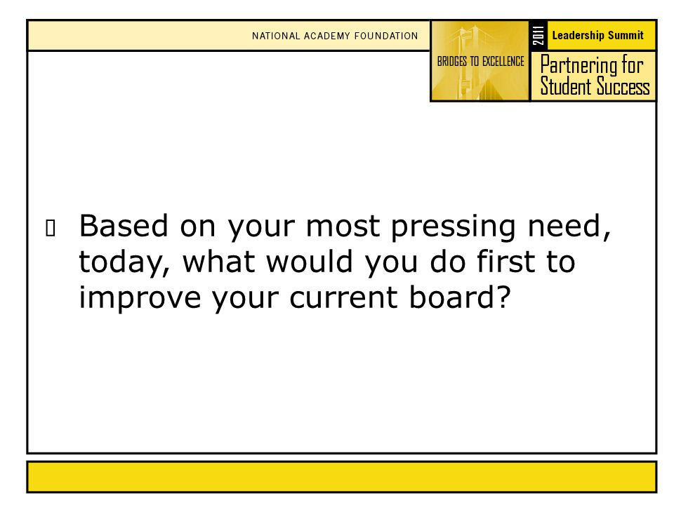  Based on your most pressing need, today, what would you do first to improve your current board