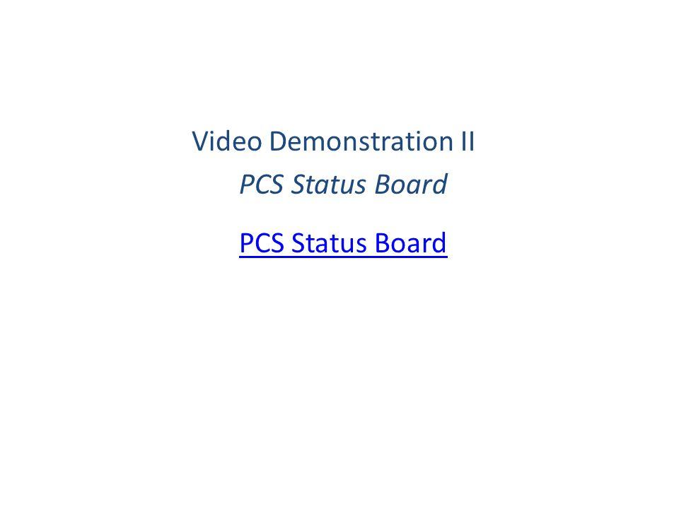 Video Demonstration II PCS Status Board