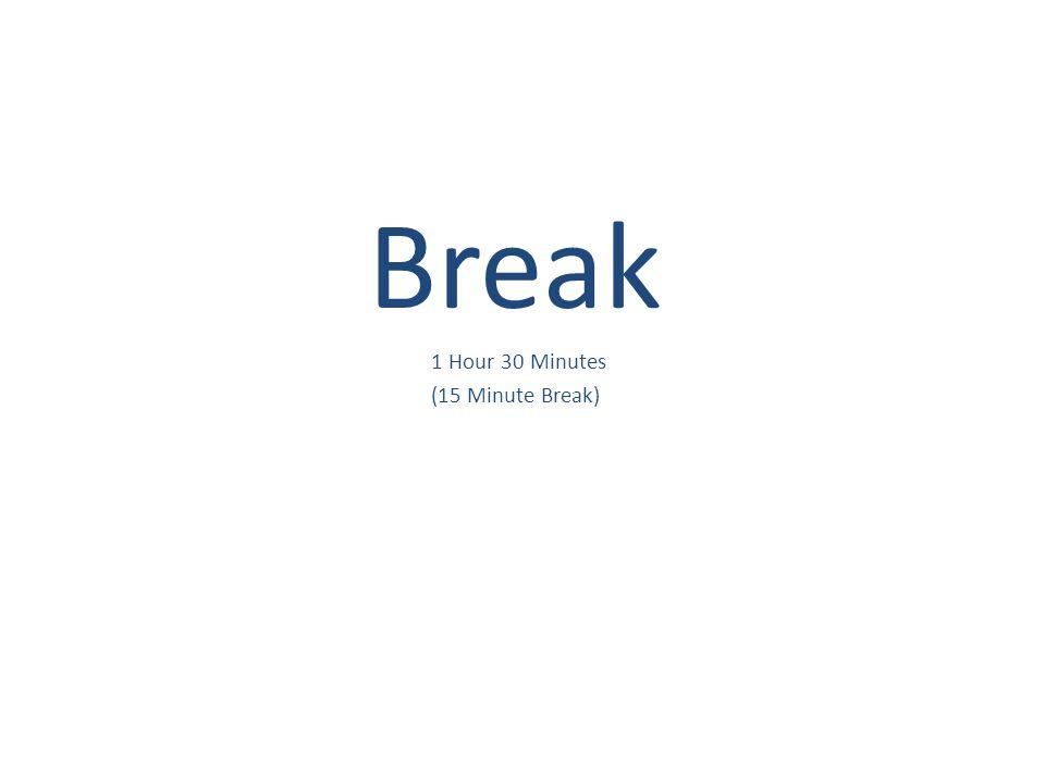 Break 1 Hour 30 Minutes (15 Minute Break)