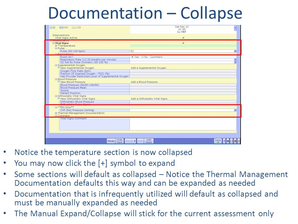 Documentation – Collapse Notice the temperature section is now collapsed You may now click the [+] symbol to expand Some sections will default as coll