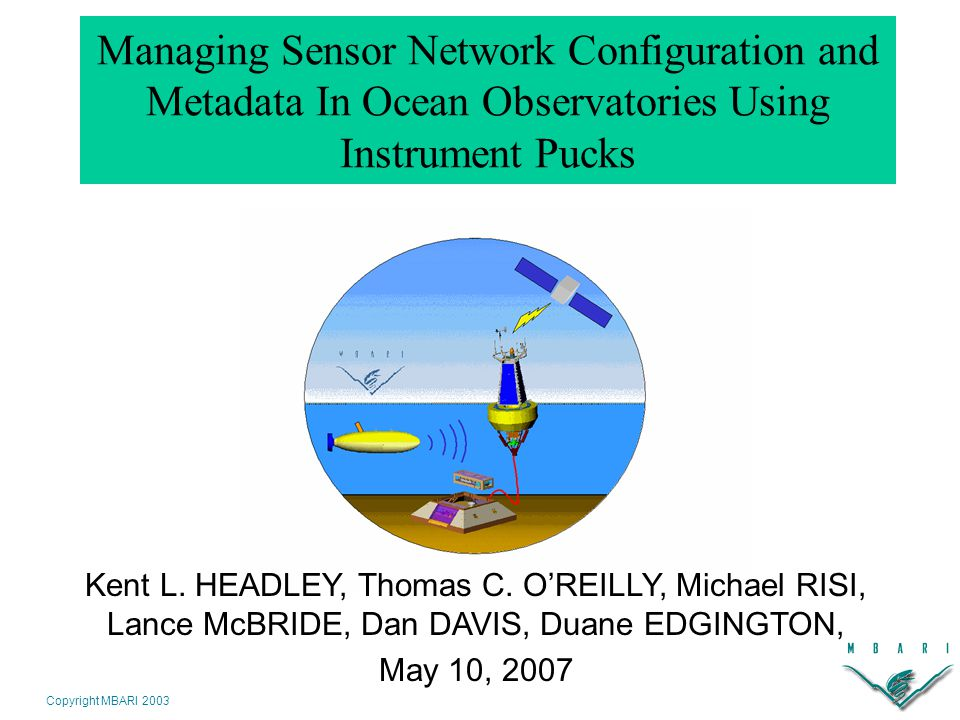 Copyright MBARI 2003 The Configuration Headache Many steps required for a device to join a platform: –Plug device into host port –Install device software, configuration files, metadata –Modify host's configuration file (port #, baud rate, etc) –Note change of data collection context and associate metadata with new data stream Time-consuming, tedious, and error-prone Does not scale well Pete Strutton, 1998, Equatorial Pacific