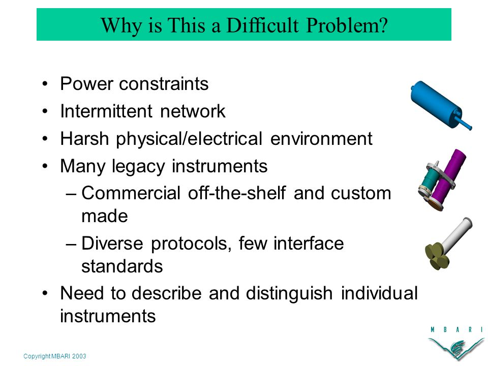 Copyright MBARI 2003 Power constraints Intermittent network Harsh physical/electrical environment Many legacy instruments –Commercial off-the-shelf and custom- made –Diverse protocols, few interface standards Need to describe and distinguish individual instruments Why is This a Difficult Problem?