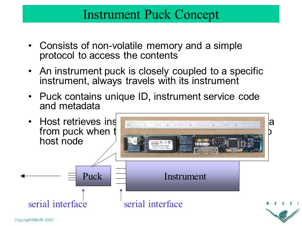 Copyright MBARI 2003 Instrument Puck Concept InstrumentPuck serial interface Consists of non-volatile memory and a simple protocol to access the contents An instrument puck is closely coupled to a specific instrument, always travels with its instrument Puck contains unique ID, instrument service code and metadata Host retrieves instrument service code and metadata from puck when the instrument/puck is plugged in to host node