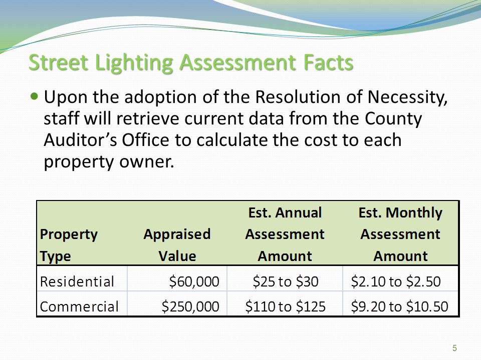 Street Lighting Assessment Facts The assessment will begin January of 2013 and sunset on December 31, 2018.