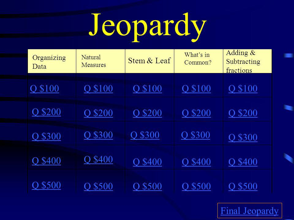 Jeopardy Organizing Data Stem & Leaf What's in Common.