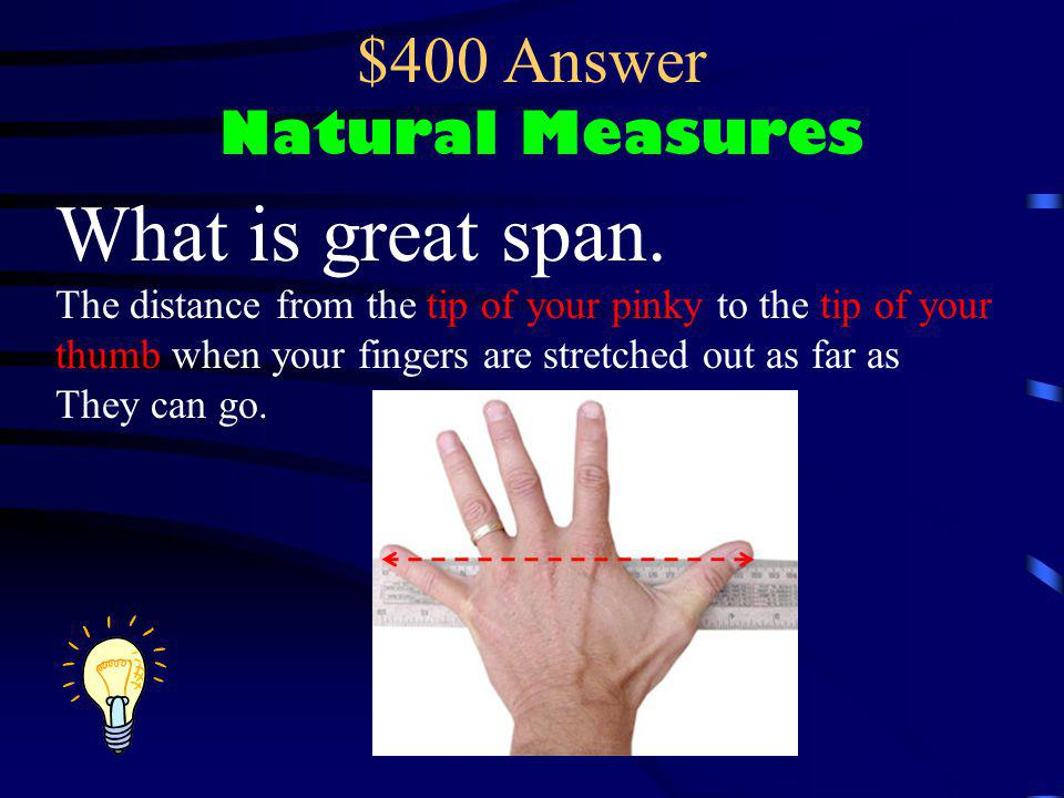 $400 Question Natural Measures This guys is measuring his what?