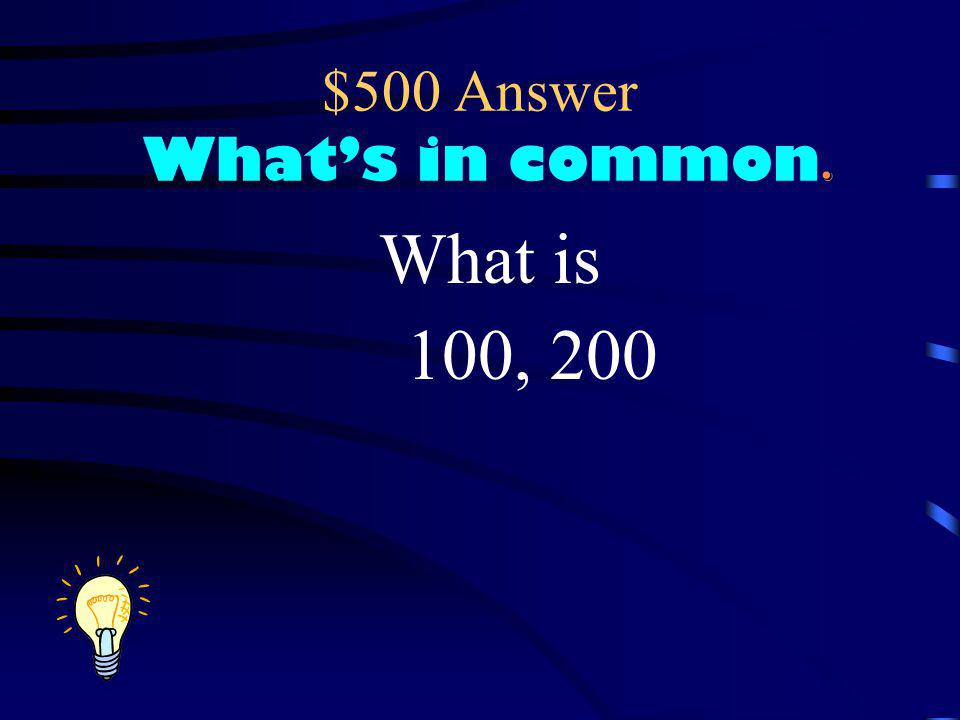 $500 Question What's in common Which of the following numbers could be a common denominator for 4 25 3434 and 8, 25, 50, 75, 100, 200