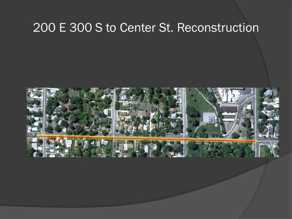 200 E 300 S to Center St. Reconstruction