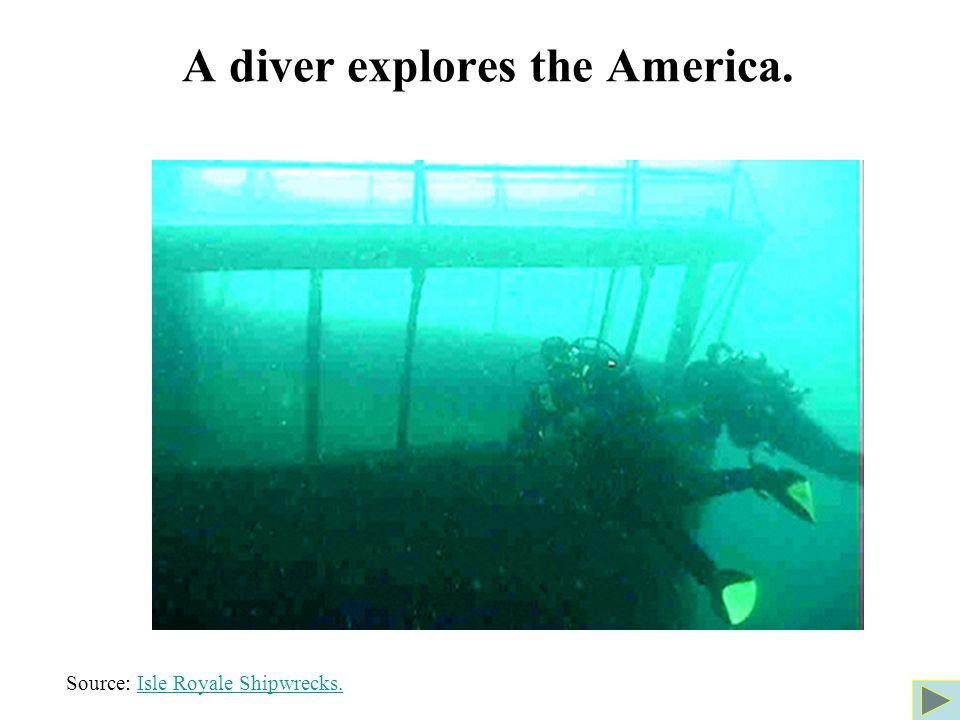 A diver explores the America. Source: Isle Royale Shipwrecks.Isle Royale Shipwrecks.
